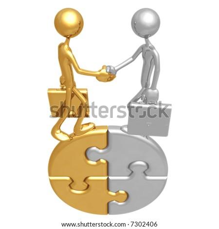 Handshake Business Puzzle - stock photo