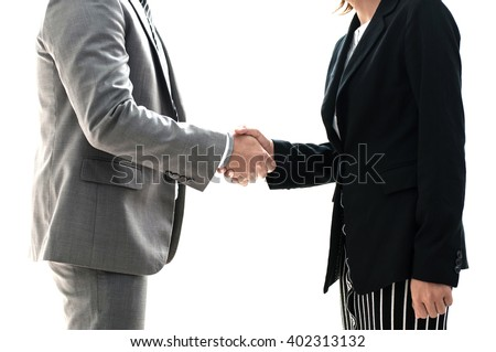 Handshake concept of businessman and businesswoman.