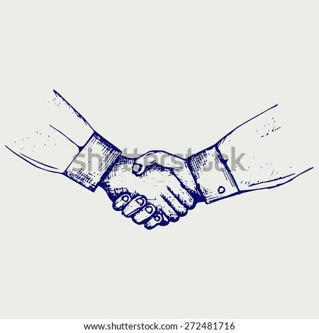 Handshake. Doodle style. Raster version - stock photo