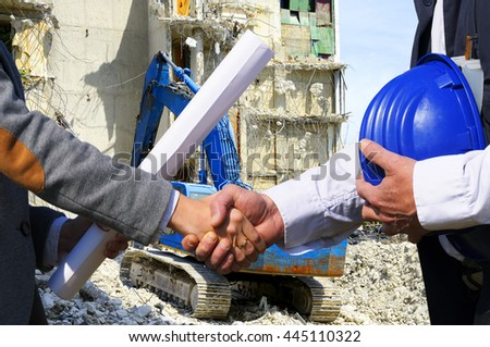Handshake for construction - stock photo