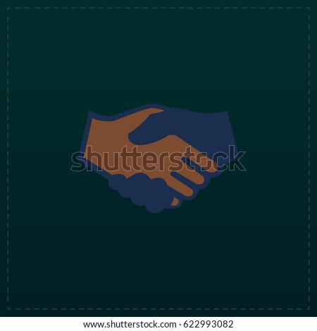 Handshake Icon Illustration. Color symbol button on black background. Symbol