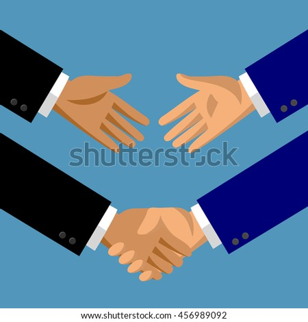 Handshake in flat style. Symbol and metaphor of business partnership