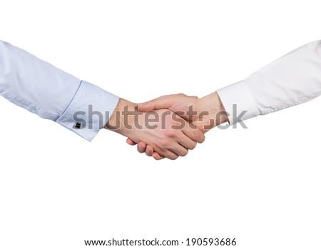 Handshake, isolated. - stock photo