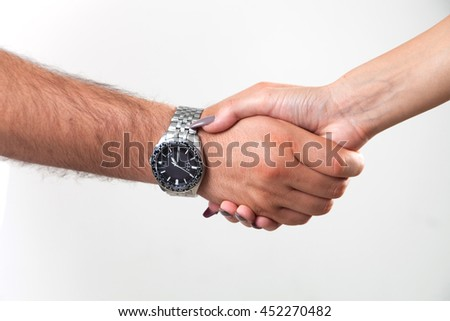 Handshake isolated, man and woman, white background - stock photo