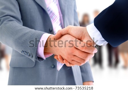 handshake isolated over business  background - stock photo