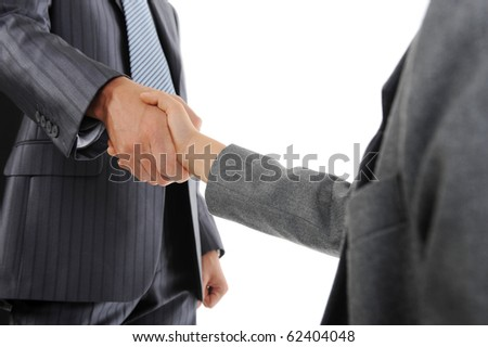 Handshake man and little boy. Isolated on white
