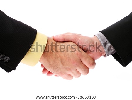 handshake, men and women on a white background - stock photo