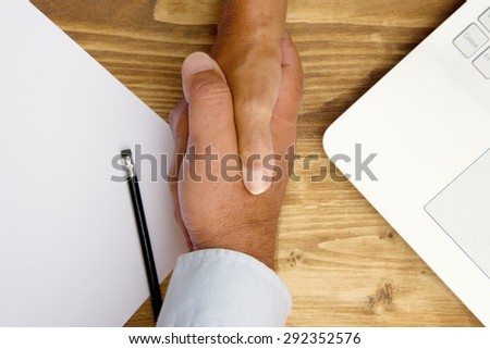 Handshake of business man and woman. - stock photo