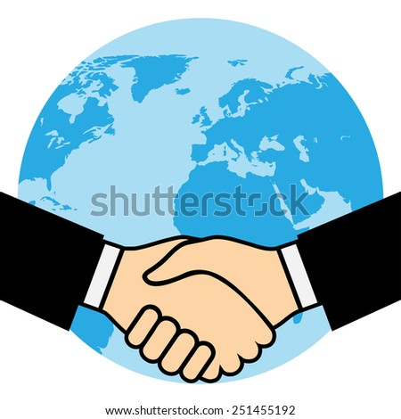 Handshake of business partners, against the background of the Earth. Illustration - stock photo
