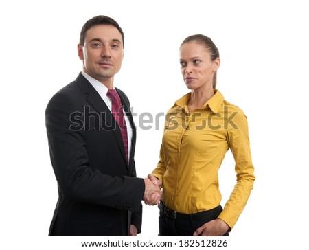 Handshake of business partners. Isolated on white background - stock photo