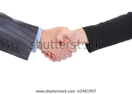 Handshake of business partners, men and women in the office. Isolated on white background - stock photo