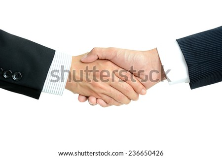 Handshake of businessmen isolated on white background - success, dealing, greeting & business partner concepts - stock photo