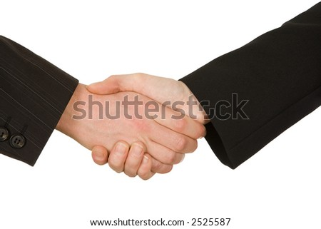 handshake of businesspeople before white background