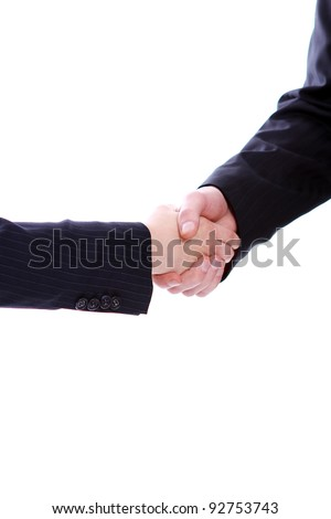 Handshake of two business partners isolated on white
