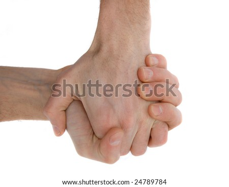handshake of two hands. isolated