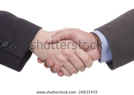 Handshake of two successful businesspeople (isolated on white) - stock photo