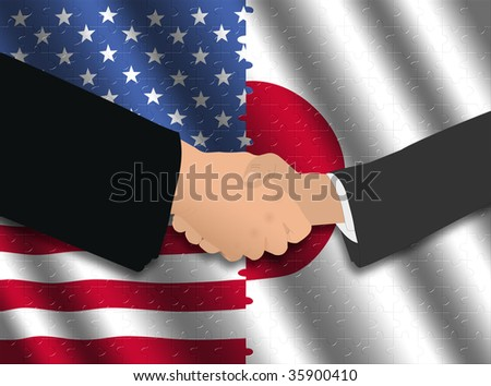 Handshake over American and Japanese flags with jigsaw effect illustration
