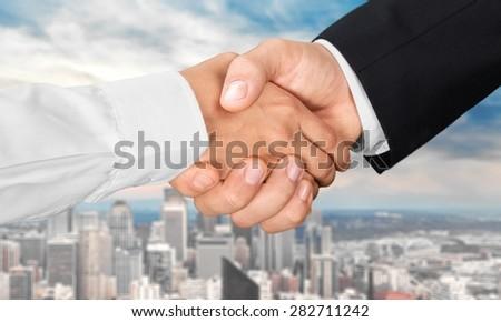 Handshake, Sale, Business. - stock photo