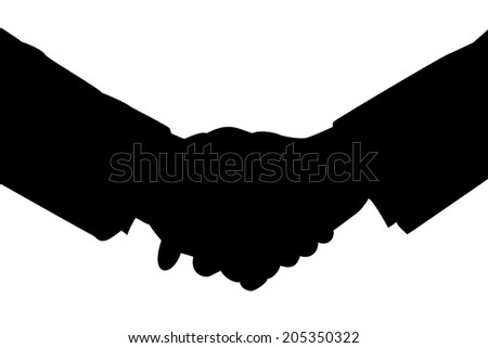 Handshake silhouette isolated on white background. - stock photo