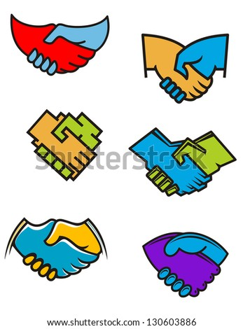 Handshake symbols and icons set for business or another design or logo template. Vector version also available in gallery - stock photo