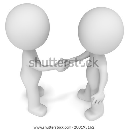 Handshake. The Dudes shaking hands. Top view. - stock photo