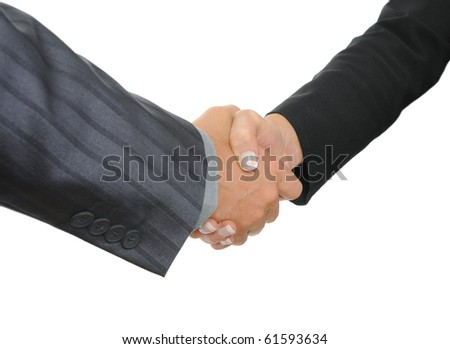 Handshake two business partners. Isolated on white