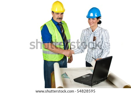 Handshake two engineers in office for successful projects isolated on white background and copy space for text message in left part of image - stock photo
