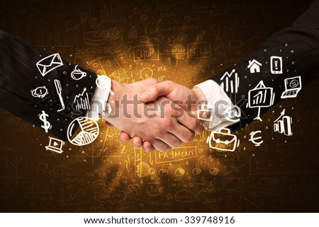 Handshake with glowing background - stock photo
