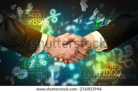Handshake with number analysis - stock photo