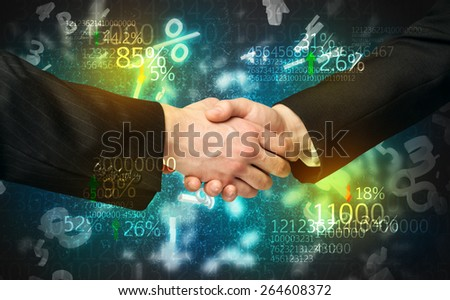 Handshake with number analysis - stock photo