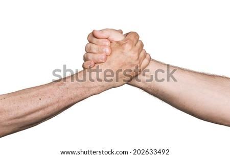 Handshaking. Man's handshake isolated on white background - stock photo