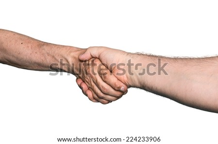 Handshaking. Shaking hands of two male people, isolated on white - stock photo