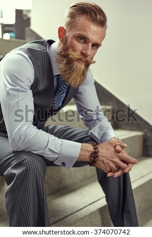 HAndsom beard man in hipster and classic suit style without in vest - stock photo