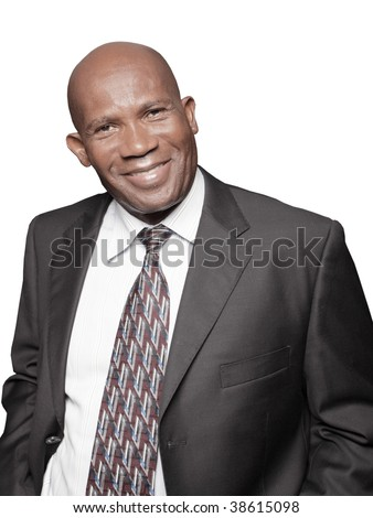 Handsome African American Businessman isolated on white - stock photo