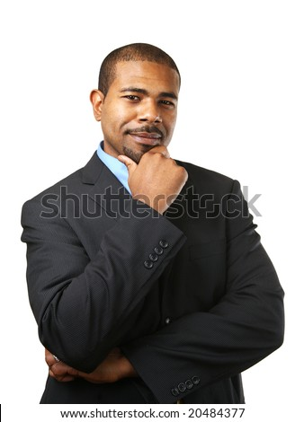 Handsome African American businessman thinking, looking at camera. Isolated over white background. - stock photo