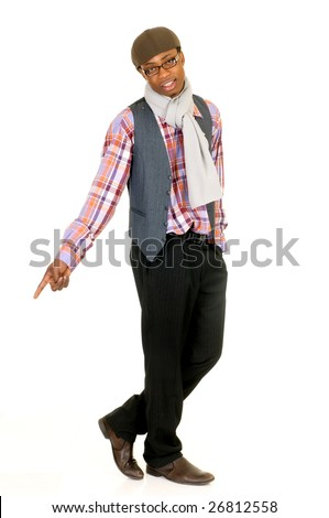 Handsome African American male leisure clothing, studio shot, white background - stock photo