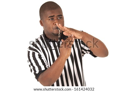 Handsome African american referee calling time out  - stock photo