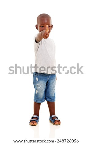 handsome african boy showing thumb up gesture on white background - stock photo