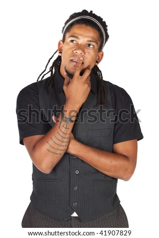 Handsome African businessman with long hair in black suit on white background. NOT ISOLATED - stock photo