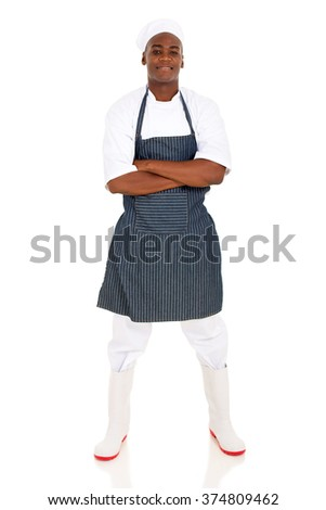 handsome afro american butcher with arms crossed