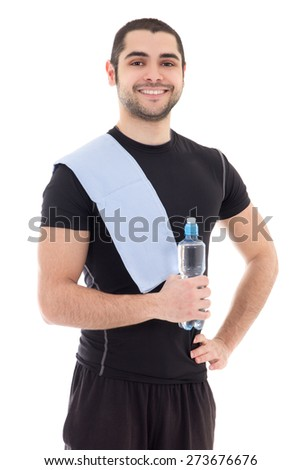 handsome arabic man in sportswear with bottle of water isolated on white background