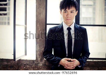 handsome asia man wear suit
