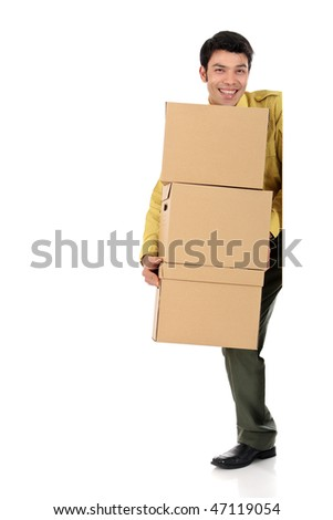 handsome Asian Nepalese post man making a delivery, post package, coming around the door. Studio, white background.
