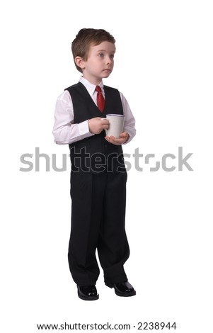 handsome attractive young boy dressed in suit with coffee in hand on white background. - stock photo