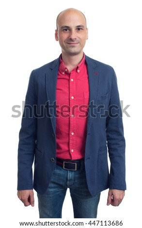handsome bald man in red shirt and blue jacket. Isolated on white background