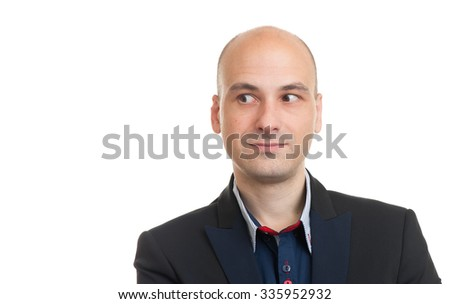 handsome bald man looking to copy space. Isolated on white - stock photo