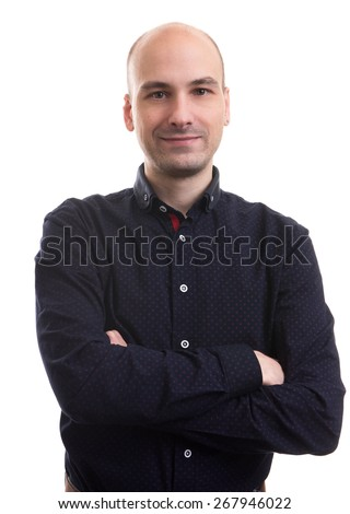 handsome bald man portrait isolated over white background - stock photo