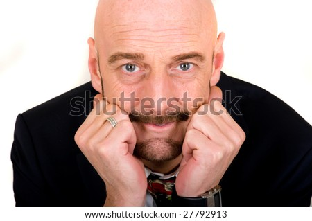 Handsome bald middle aged casual dressed, studio shot, white background - stock photo