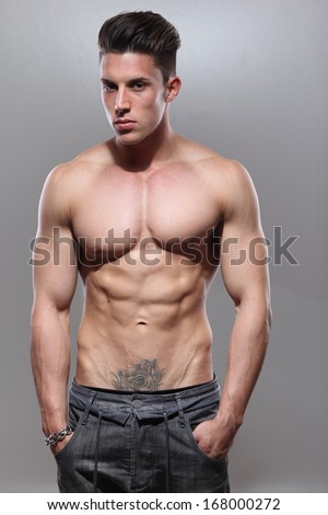 Handsome bare-chested man  - stock photo