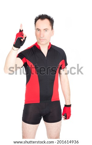 Handsome biker doing different expressions in different sets of clothes: asking for attention - stock photo